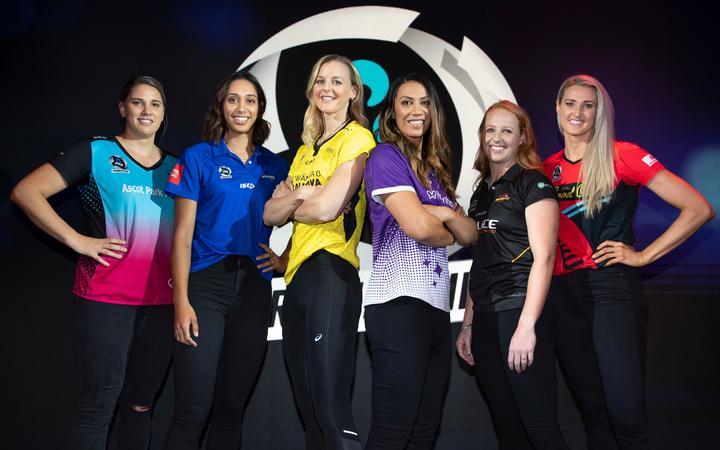 Te Huinga Reo Selby-Rickit, Phoenix Karaka, Katrina Rore, Grace Kara, Samantha Winders and Jane Watson, during the ANZ Premiership netball launch.