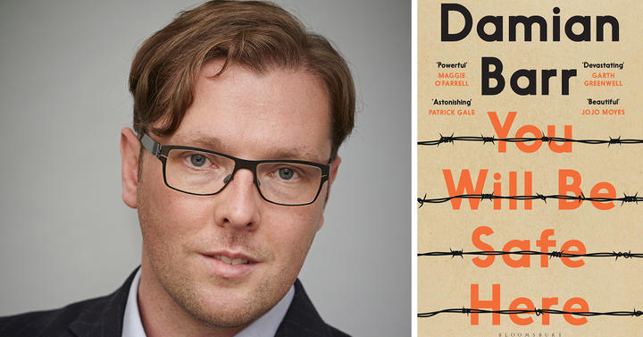 "Damian Barr and the cover of his book ""You Will Be Safe Here"""