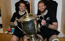 Richie McCaw and Kieran Read in the sheds after retaining the Bledisloe Cup