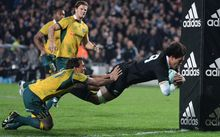 Steven Luatua scores against the Wallabies, Eden Park 2014.