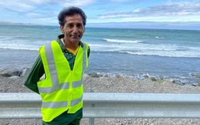 Kasrat Rai on his peace walk from Wellington to Christchurch.