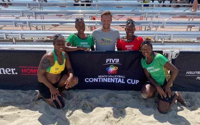Vanuatu celebrate advancing to the final of the Continental Cup in Mount Maunganui.