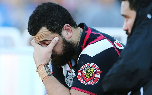 Ben Matulino is dejected after the Warriors loss to the Roosters, 2014.