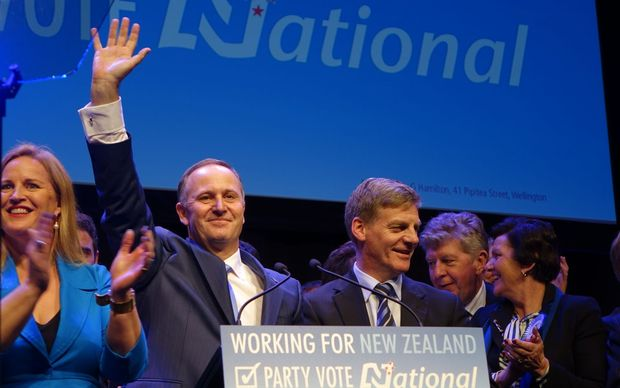 John Key and Bill English (centre) at the National Party's election campaign launch.