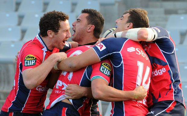 Tasman celebrate a try during their round one win over Hawke's Bay, 2014.