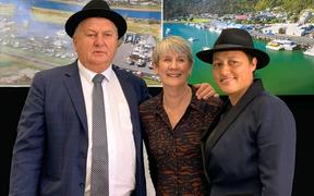 Regional Economic Development Minister Shane Jones, Whakatane Mayor Judy Turner and Labour List MP Kiri Allan celebrate the PGF announcement made this morning.