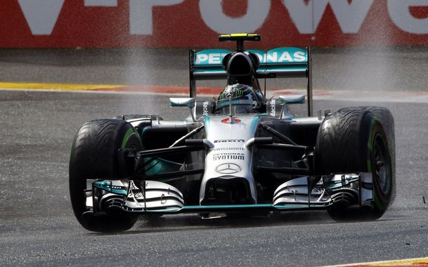 Nico Rosberg drives in the Belgium Grand Prix.