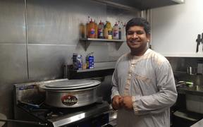 Mohammad Khaja Mohiuddin in the kitchen of his new takeaway store Indian Paradise.