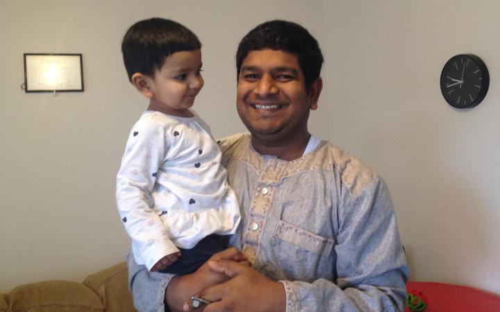 Mohammad Mohiuddin with his year-old daughter Zara, who has been diagnosed with cancer.