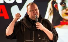Kim Dotcom at the Internet Mana launch.