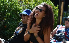 Selina Tusitala Marsh enjoying David Fane's cooking workshop at WOMAD 2020