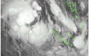 A satellite image of Cyclone Gretel near New Caledonia on Sunday.