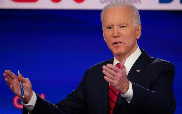 Democratic presidential hopeful former US vice president Joe Biden makes a point as he and Senator Bernie Sanders take part in presidential debate in Washington, DC on March 15, 2020.
