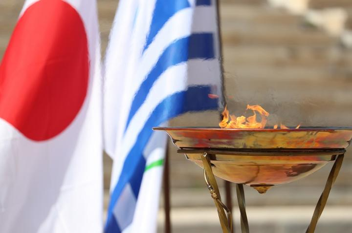 Olympic flame is set at Panathinaiko Stadium in Athens, Greece on March 14.  On the previous day, the Tokyo Olympic Flame Lighting ceremony was held with no spectators to avoid the spread of the new coronavirus.