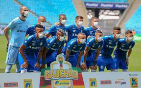 Brazilian football league, Gremio players in squad picture all wearing face masks