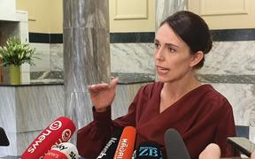 Jacinda Ardern speaks to media during caucus run. 17 March 2020