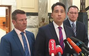 Michael Woodhouse, National lleader Simon Bridges and Shane Reti.
