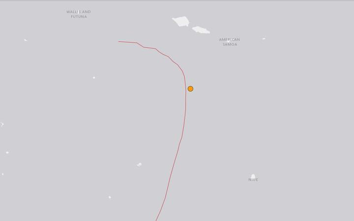 A map showing the epicentre of Wednesday morning's earthquake in the waters of Tonga's north.