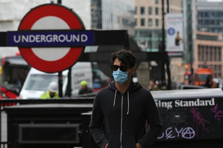 A person wears medical mask as a precaution against coronavirus (COVID-19) in London, United Kingdom on March 18, 2020.
