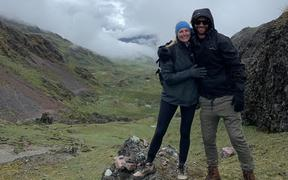 Bridget Prior and Thomas Giles, trekking near Machu Picchu before borders were closed.