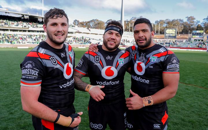 Josh Curran, Jazz Tevaga and Taane Milne from the Warriors rugby league club.
