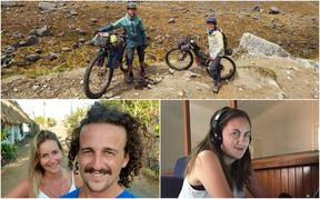 New Zealanders stuck abroad - Mark Watson and Hana Black (top), Matthew Taylor and Amelia Nisbet (left) and Stacey Knott