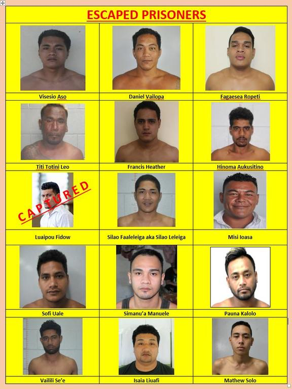 Mugshots of 14 of the 15 prisoners still at large. Not shown here is escapee Lupe lelevaga.