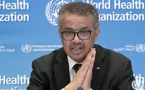 WHO director-general Tedros Adhanom Ghebreyesus giving an online media conference.