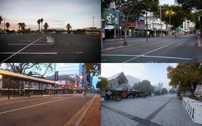 Empty streets across New Zealand (clockwise, from top left) in Auckland, Wellington, Christchurch and Dunedin.