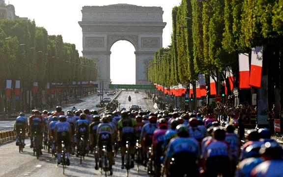 Tour de France peloton on the Champs-Elysees 2019.