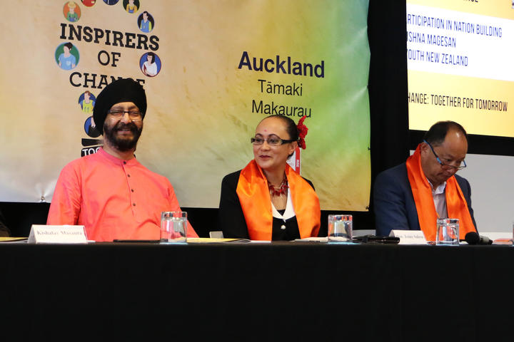 National MP Kawaljit Singh Bakshi (left), at a conference hosted by Hindu Youth New Zealand and New Zealand Hindu Students Forum. Other guests at the event included the Minister for Ethnic Communities Jenny Salesa (centre) and race relations commissioner Meng Foon (right).