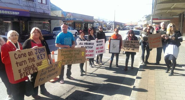 Relatives of Pike River victims protest in Greymouth.