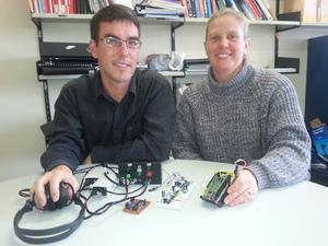 Shane Pinder (left) and Claire Davies with some prototypes the echolocation device