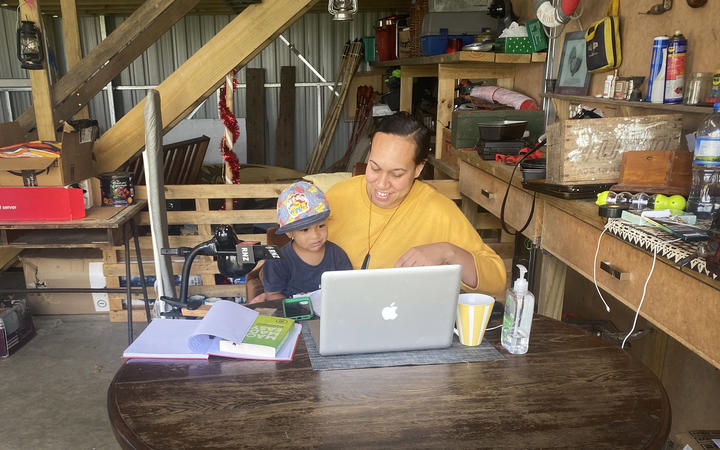 RNZ Pacific journalist Talei Anderson working from her parents' garage during the Covid-19 lockdown