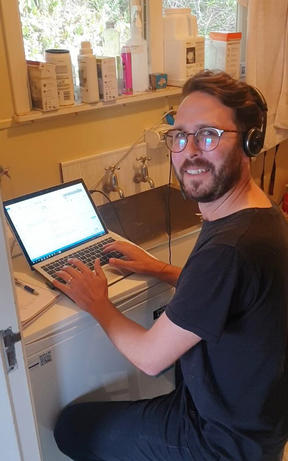 Hamish Cardwell working from his laundry during the Covid-19 lockdown.