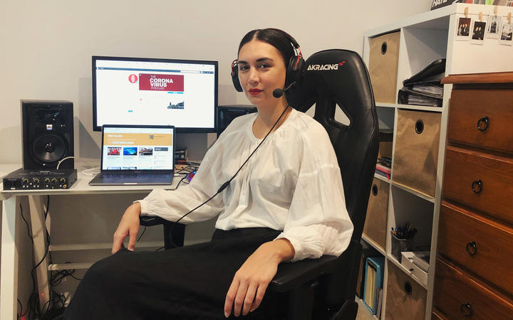Leilani Momoisea working from her husband's gaming chair during the Covid-19 lockdown.
