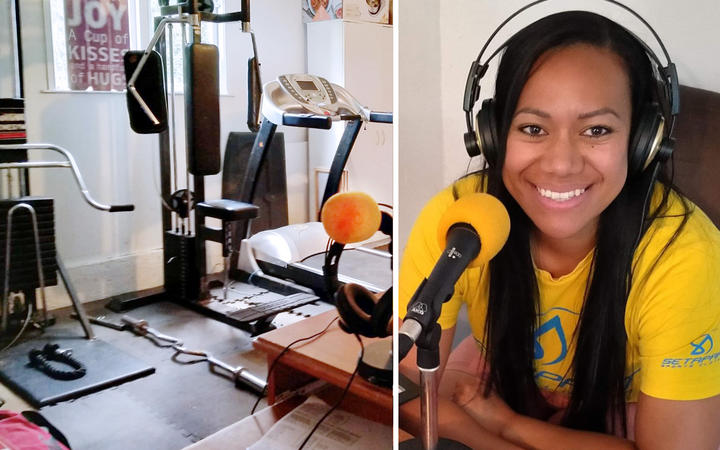 Indira Stewart broadcasts from home during the Covid-19 lockdown.