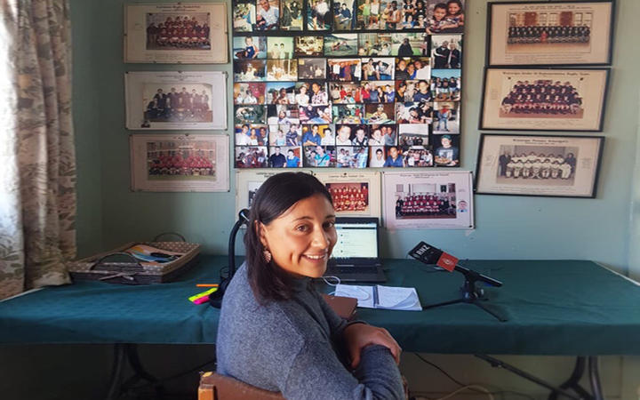 Te Aniwa Hurihanganui working from her grandparents' shed during the Covid-19 lockdown