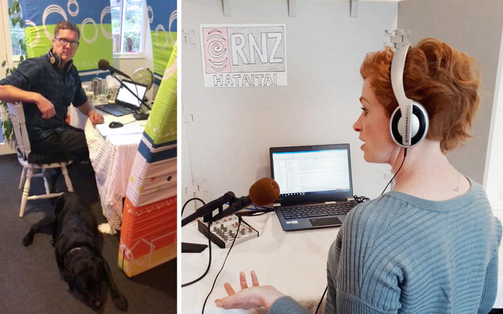 Corin Dann and Susie Ferguson broadcast from home during the Covid-19 lockdown
