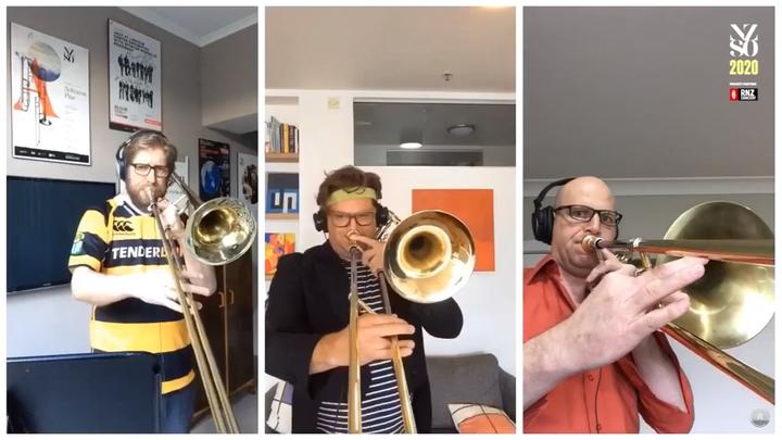 NZSO trombone players David Bremner, Matthew Allison and Shannon Pittaway perfoming at home.