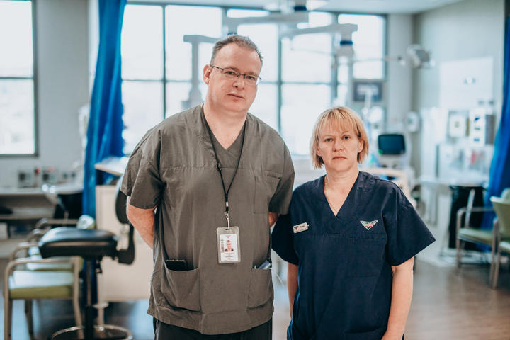 Anaesthesist Andrew Stapleton and Clinical Nurse Manager Susan Cartmell.