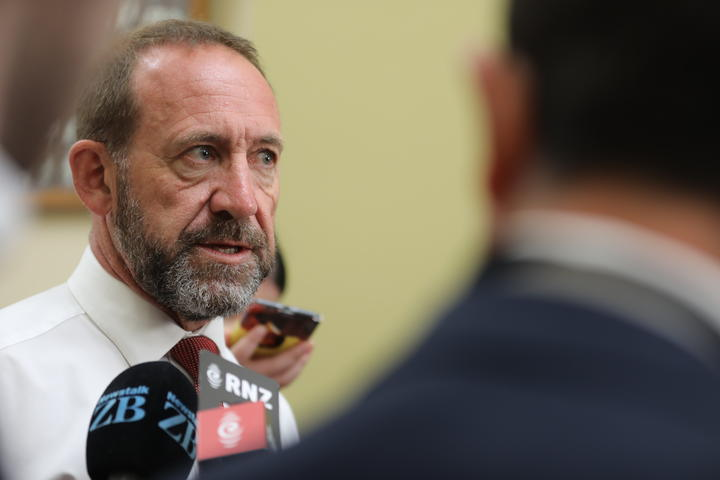 Labour MP Andrew Little speaking to the media on the way to his party's caucus meeting