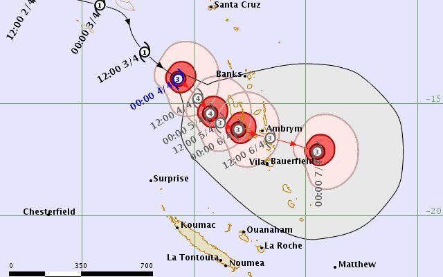 Forecast track map for severe Tropical Cyclone Harold.