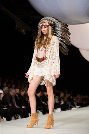 A model showcases designs by Trelise Cooper at New Zealand Fashion Week in Auckland.