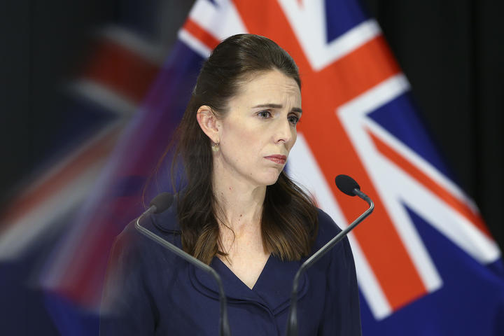 Prime Minister Jacinda Ardern looks on during a press conference at Parliament on 5 April 2020. New Zealand was placed in complete lockdown and a state of national emergency was declared on Thursday 26 March to stop the spread of COVID-19 across the country.