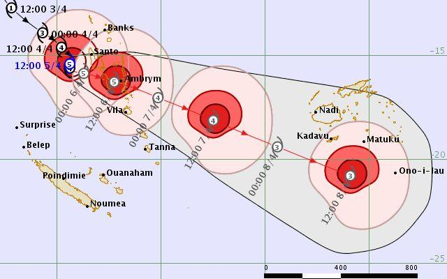 Forecast tracking map for Tropical Cyclone Harold