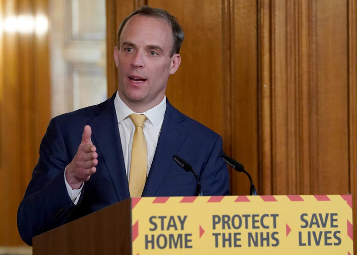 A handout image released by 10 Downing Street, shows Britain's Foreign Secretary Dominic Raab speaking during a remote press conference to update the nation on the COVID-19 pandemic, inside 10 Downing Street in central London on April 7, 2020.