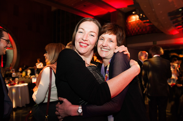 Publisher Claire Murdoch from Te Papa Press with Jill Trevelyan, winner of 2014 New Zealand Post Book of the Year