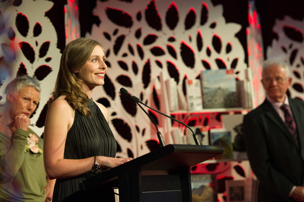 Eleanor Catton, winner of the fiction category, at the New Zealand Post Book Awards 2014