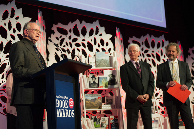 Vincent O'Sullivan, winner of the poetry category, with Sir Michael Cullen and Fergus Barrowman, publisher from Victoria University Press, at the 2014 New Zealand Post Book Awards